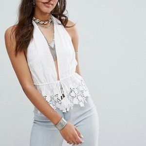 Free people Just Like Heaven Lace halter top